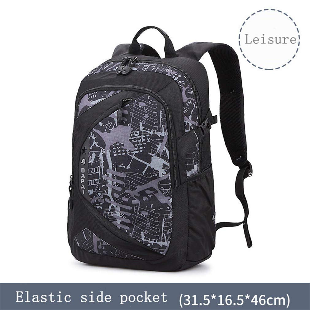 Leisure Grey 14 15 Inch School Bag Student Backpack Large Capacity Male Travel Bag