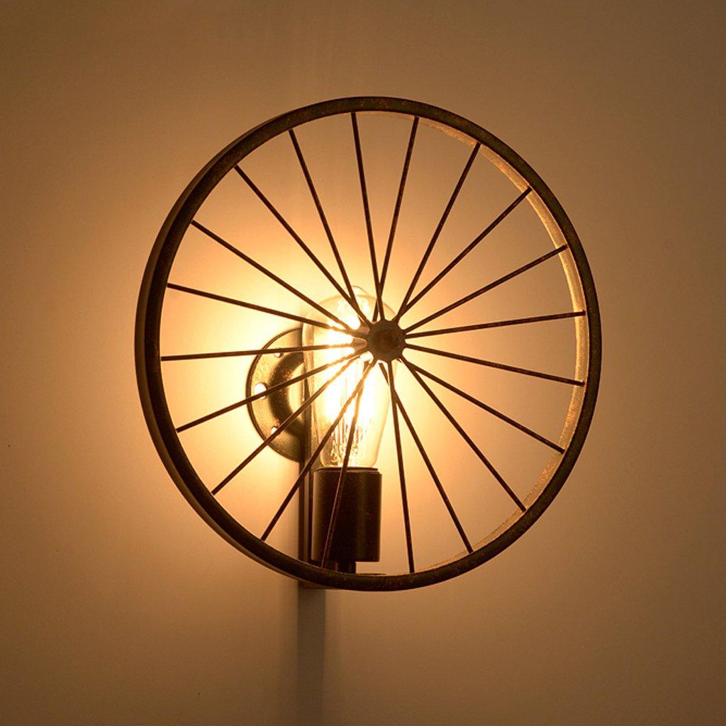 Creativo personalità ristorante della barra di illuminazione in ferro battuto americano illumina ruote industriali Lampada da parete