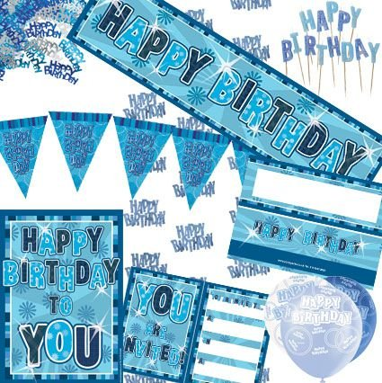 AmerTraders Happy Birthday blu Glitz Decoration - Risparmia Denaro