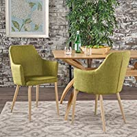 Christopher Knight Home 301734 Zeila Mid Century Modern Dining Chair, Green/Light Brown