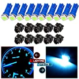 CCIYU 10x Ice Blue LED & 10x Sockets Dash Instrument Panel Light Bulb T5 70 73 74 Used For side markers, running lights, corner & bumper lights, license plate lights etc