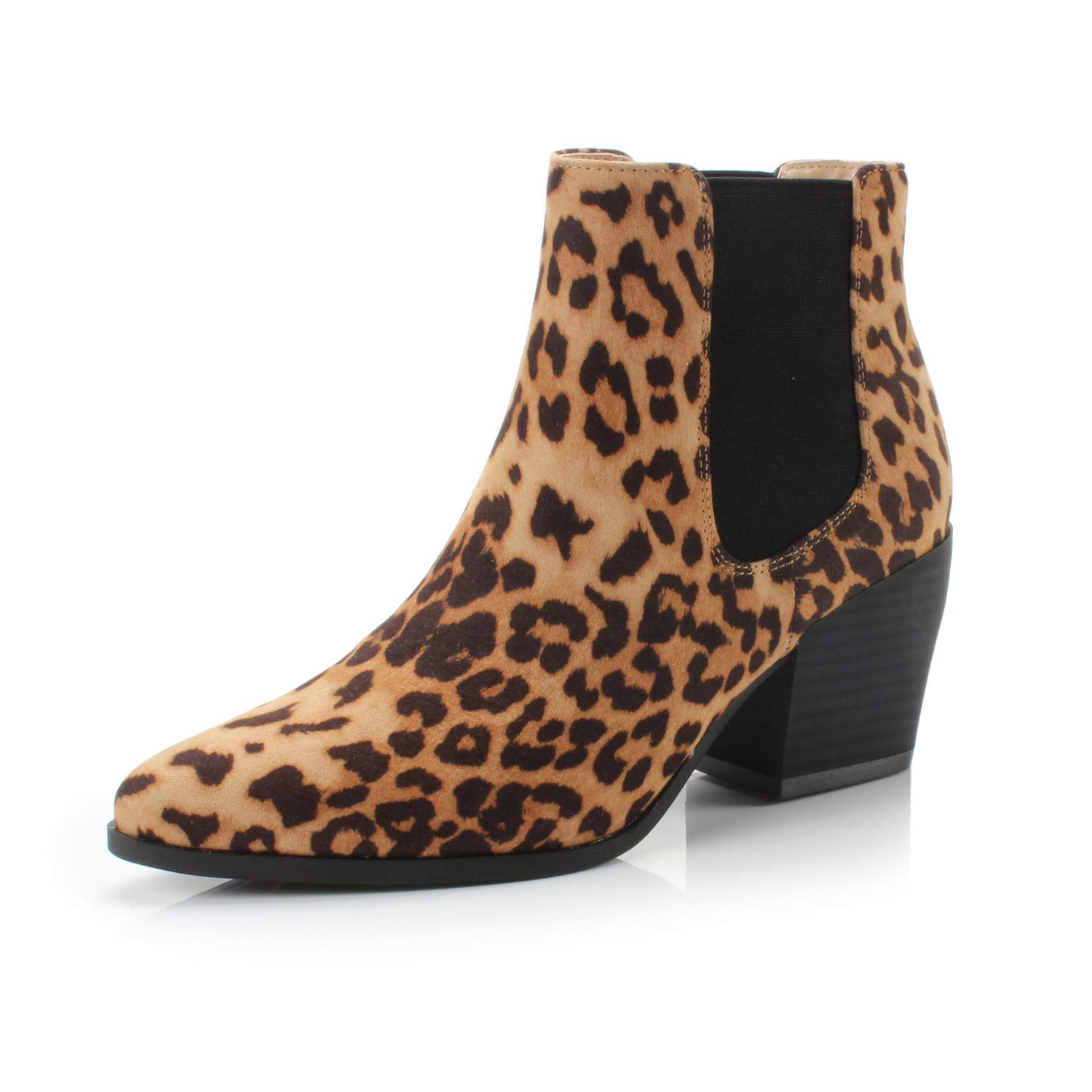 Bliss Leopard Fabric DUNION Women's Slip On Glamour Fashion Chunky Heel Ankle Boot
