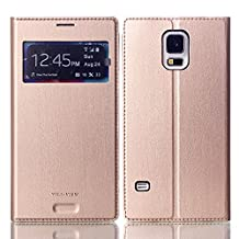 Galaxy S5 Phone case,Eastcoo Premium PU Leather Smart View Window Flip Ultra Slim Wallet Case Folio Cover with Card Holder Stand For Samsung Galaxy S5 (Gold)