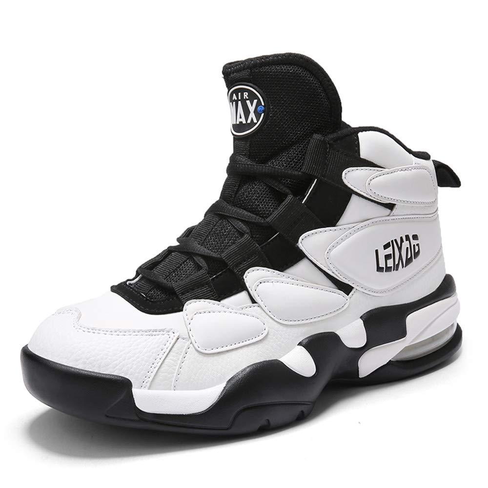 Willsky Herren-Basketball-Schuhe, Basketball-Trainer Leichte Stoßdämpfung Basketball-Stiefel Hohe Hilfe Atmungsaktive Freizeit Luftkissen Laufschuhe,Weiß,41