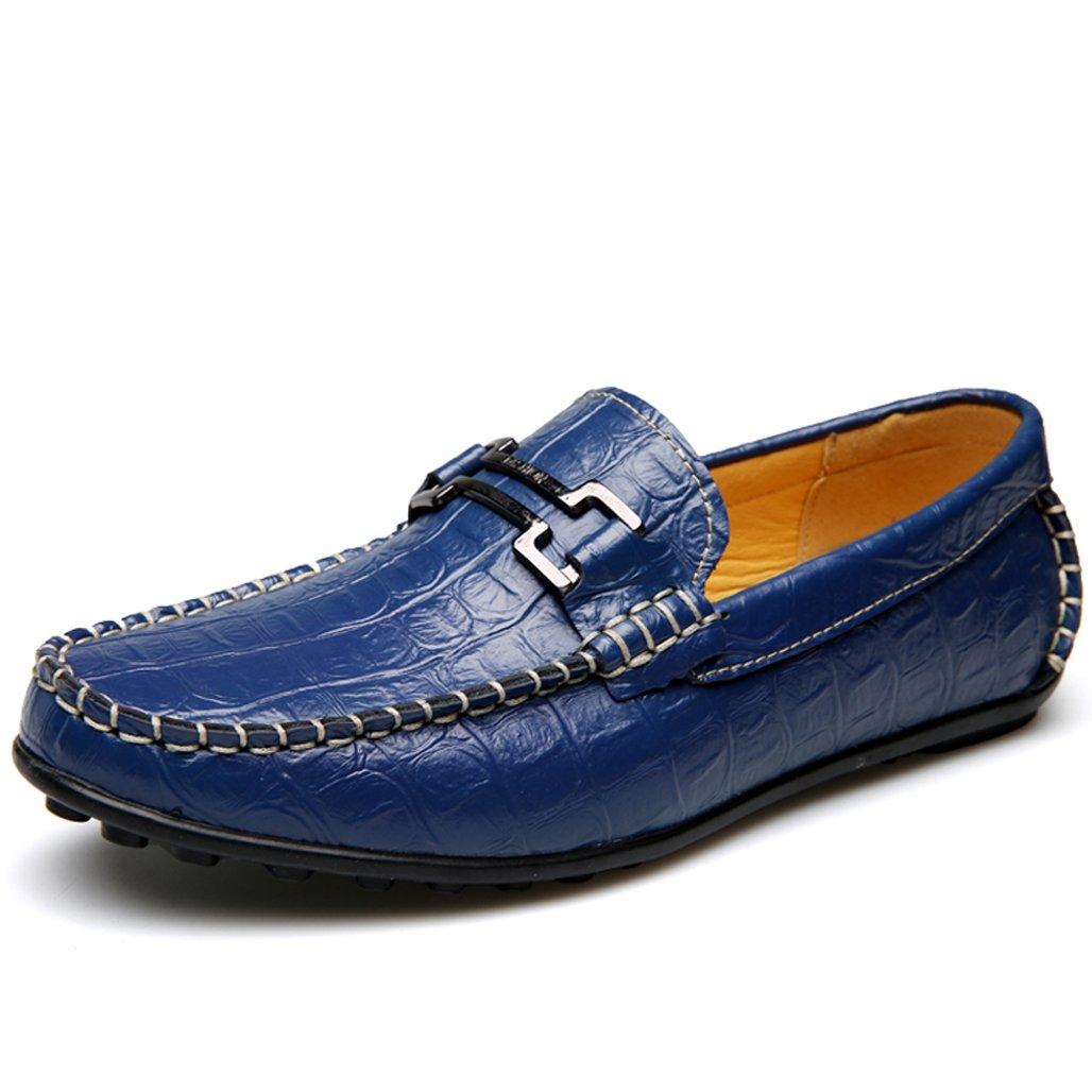 GOLDGOD Zapatos Planos De Hombre Mocasines Mocasines Zapatos De Cuero Ocasionales Ligeros Antideslizantes Antideslizantes De Goma 45|Blue