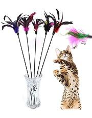 Demarkt 5X Katzenangel Federwedel Katzenspielzeug mit Glocke Katze Spielzeug mit Federn zufällige Farbe 65cm