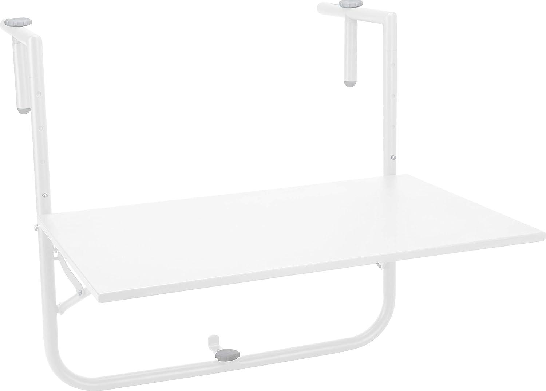 Hibuy - Tavolo Pieghevole da Balcone, Regolabile in Altezza, Piano d'appoggio 60 x 40 cm Bianco