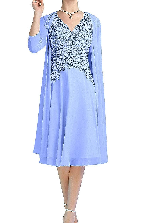 Lavender ZLQQ Pink Aline Short Dress V Neck with 3 4 Sleeves Jacket for Mother of The Bride