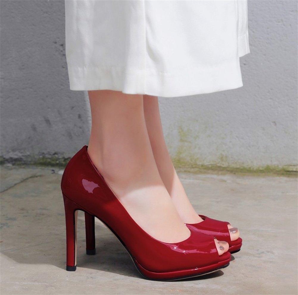 NVXIE High-heeled Schuhe Fisch Mund Schuhe Wasserdichte Plattform Lackleder Schuhe Damenschuhe Große Größe Sandalen 33-42