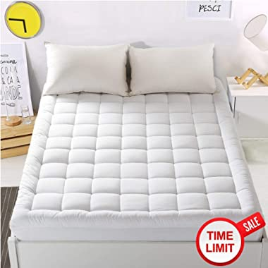 "WARM HARBOR Mattress Pad Cover King Size Mattress Topper with 18"" Deep Pocket Pillowtop Overfilled 100% 300TC Cotton White Bed Topper (Down Alternative)"