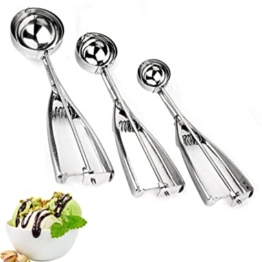 Ice Cream Scoops, Cookie Scoop, Set of 3, Different Size, 18/8 Stainless Steel