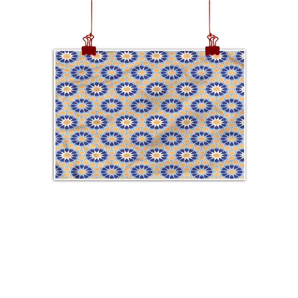 color03 48 x32  (120cm x 80cm) Mangooly Wall Art Painting Print Arabic,Flower and Sun Motif Tiles Home Decor Prints Posters