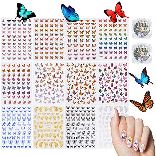 Butterfly Nail Art Decals Water Transfer Stickers, 22 Sheets Butterfly Nail Sticker DIY Nail Decals, 2 Set Butterfly Nail Glitter Holographic Stickers Reflected Butterfly Designs for Nails Supply