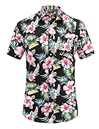 JEETOO Men's Casual Pineapple Short Sleeve Button Down Hawaiian Aloha Shirt