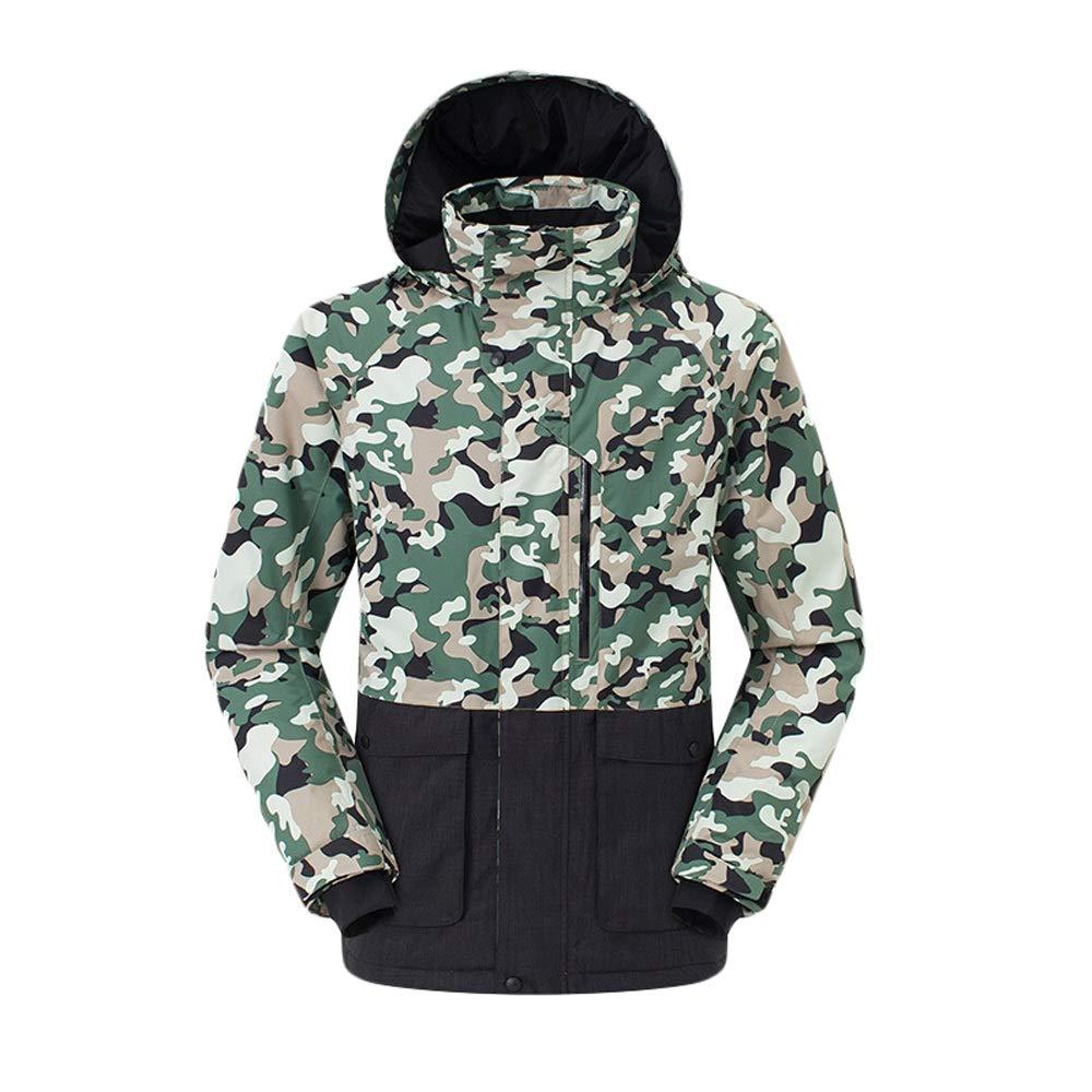 スキーウェア 迷彩の緑のスキージャケットの人の羊毛のジャケットの冬の防水暖かいのための防風コート 理想的なスキー服 (色 : Camouflage 緑, サイズ : XL) Camouflage 緑 X-Large