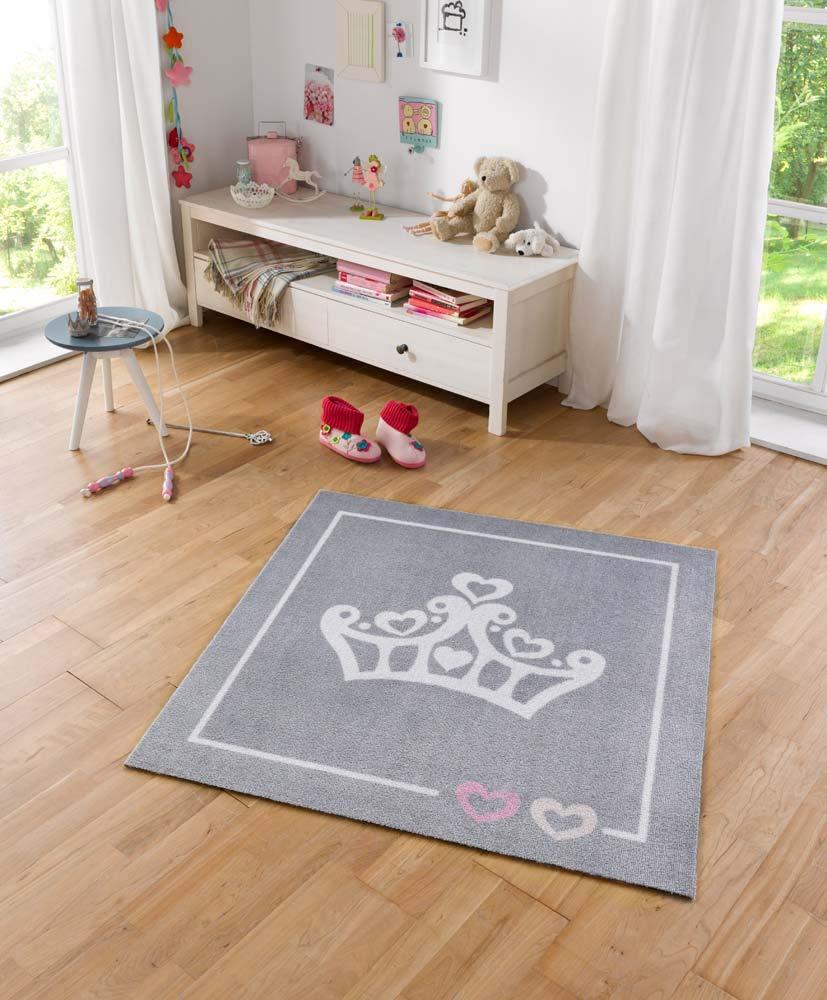 Zala Living Krone Kinderteppich, Polyamid, Grau, 100 x 100 x 0,7 cm