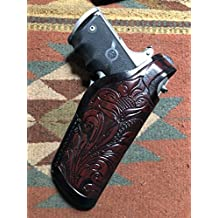 C.O.W.S. Colt Model 1911 Commander Leather Holster w/Floral Scroll