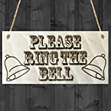 Red Ocean Please Ring The Bell Wooden Hanging Shabby Chic Gift Front Door Doorbell Sign by Red Ocean