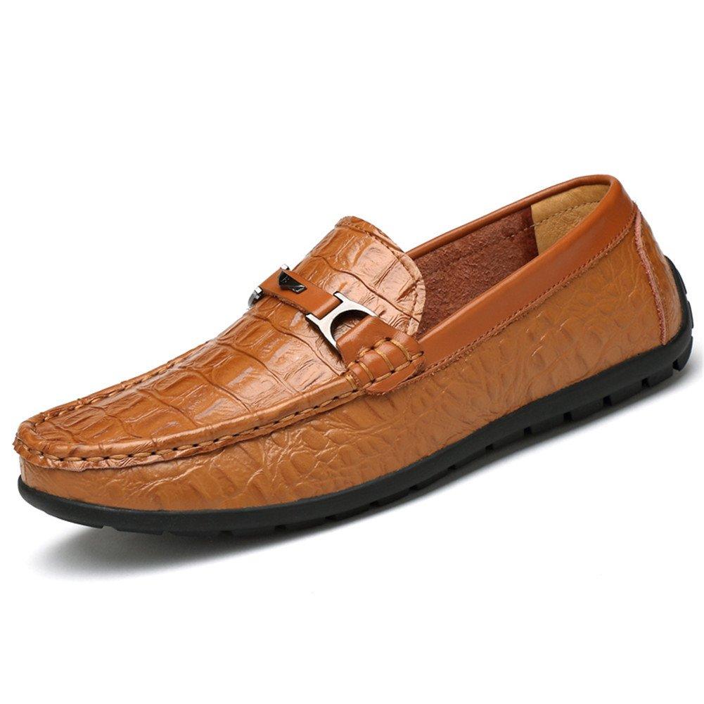 Mocasines Hombre Patrón de Cocodrilo Casual Zapatos Slip on Conducción Viajar Vendimia 44 EU|Marrón