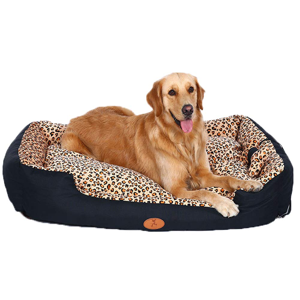 Leopardprint XX-Large Leopardprint XX-Large Pet Supplies Kennel Fully Removable and Washable Teddy Small Dog Large Leopard Nest Warm House Pets Bed Big for Dogs Sofa Accessories,Leopardprint,XXL