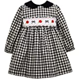Smocked Black and White Check for Baby Bonnie Jean Holiday Christmas Dress Toddler and Little Girls