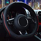 ZATOOTO Car Steering Wheel Covers for Men - d Shaped Auto Black Red Line Genuine Leather Flat Bottom Women Universal 15 inch