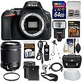 Nikon D5600 Wi-Fi Digital SLR Camera Body 18-200mm VC Lens + 64GB Card + Case + Flash + Battery & Charger + Tripod + Kit