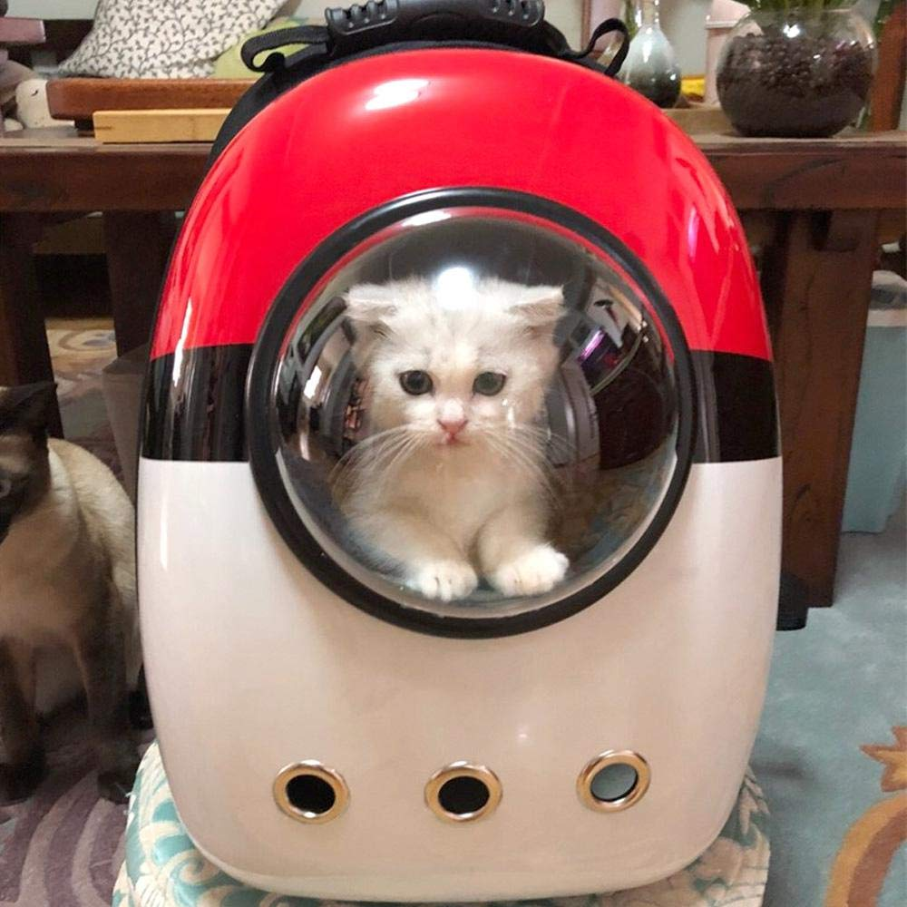 Red Breathable Pet Travel Backpack, Space Capsule Carrier Bag Hiking Bubble Backpack Pet Handbag Astronauts Handbag for Cat Dog and Other Animals
