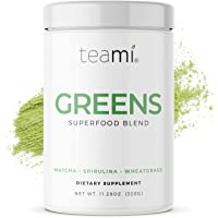 Teami Green Superfood Powder - 32 Servings of Super Greens Powder - 16 Vegan Super Green Non-GMO Mixed Veggie Ingredients, Including Spirulina, Chlorella, Wheatgrass, Spinach, Kale, and Acai