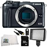 Canon EOS M6 Mirrorless Digital Camera (Body Only, Black) 6PC Accessory Bundle – Includes 32GB SD Memory Card + Universal Wireless Shutter Release Remote + MORE - International Version (No Warranty)