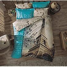%100 Turkish Cotton 3 Pcs Paris Eiffel Tower Theme Single Twin Size Duvet Quilt Cover Set Bedding Linens Made in Turkey