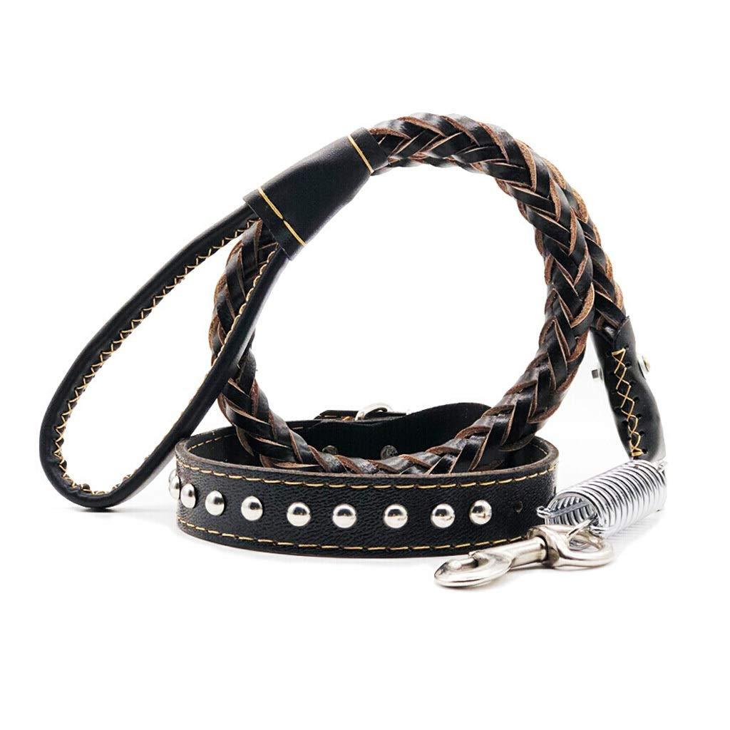 M JIANXIN Dog Belt, Explosion-Proof Leather Traction Rope, Suitable for Medium and Large Dogs, with Buffer Spring, Black, 3 Sizes (Size   M)
