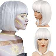 White Straight Hair Bob Wig with Bangs Synthetic Short Bob Wig for Women Cosplay Custom Party Wigs Heat Resistant 12 inches