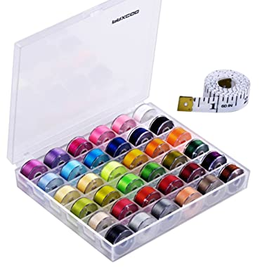 Paxcoo 36 Pcs Bobbins and Sewing Threads with Case and Soft Measuring Tape for Brother Singer Babylock Janome Kenmore (Assorted Colors)