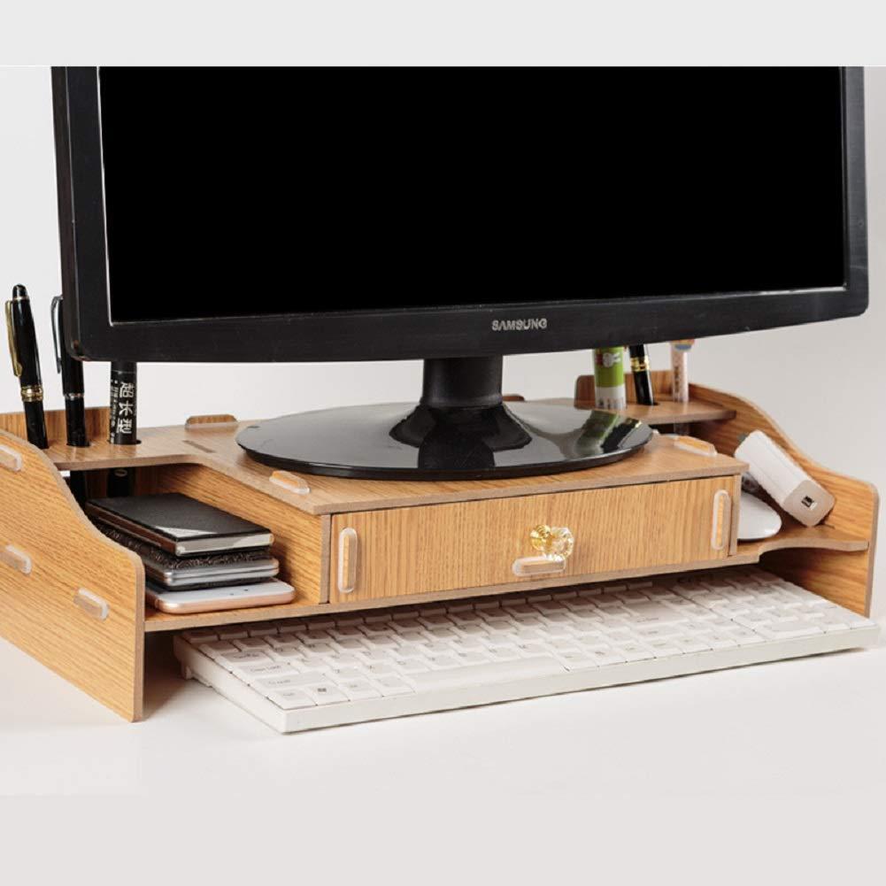 goldoak Minimalism Monitor Stand, Desktop Monitor Riser, TV Stand Desk Organizer Storage Space for Keyboard and Mouse,Black