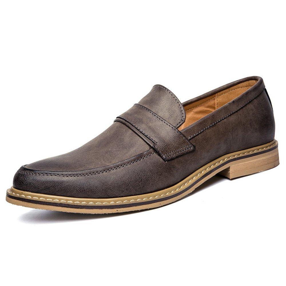 Herrenschuhe Ferseschuhe Mode Einbeinige Herrenschuhe Lederschuhe England Spitze Einbeinige Mode Schuhe Grau b9fdd3