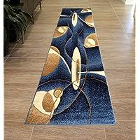 Bellagio Modern Area Rug Runner Design #457 Blue (2 Feet X 7 Feet 3 Inch)
