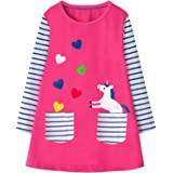 Fiream Summer Toddler Girls Dresses - Casual Cute Animal Applique Outfits Dress for Kids 3-8 Years