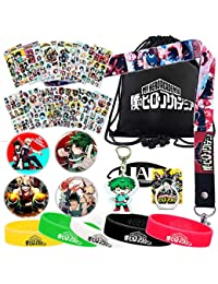 My Hero Academia Bag Gift Set - 1 MHA Drawstring Bag Backpak, 12 Sheet Stickers, 1 Lanyard, 1 Mouth Mask, 1 Keychain, 1 Phone Ring Holder, 5 Bracelets, 4 Button Pins for Anime MHA Fans