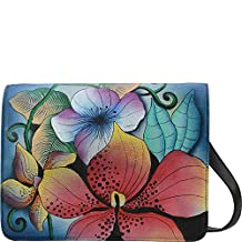 Anna by anuschka Handpainted Leather Medium Saddle Crossbody, Midnight Floral