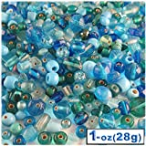 1oz=28g Bulk assorted shapes and sizes 6-12mm glass beads Light Blue