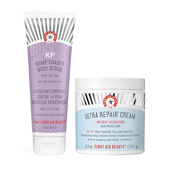 AmazonSmile : First Aid Beauty Bundle: KP Bump Eraser Body Scrub with 10% AHA and Ultra Repair Cream Intense Hydration Moisturizer : Beauty