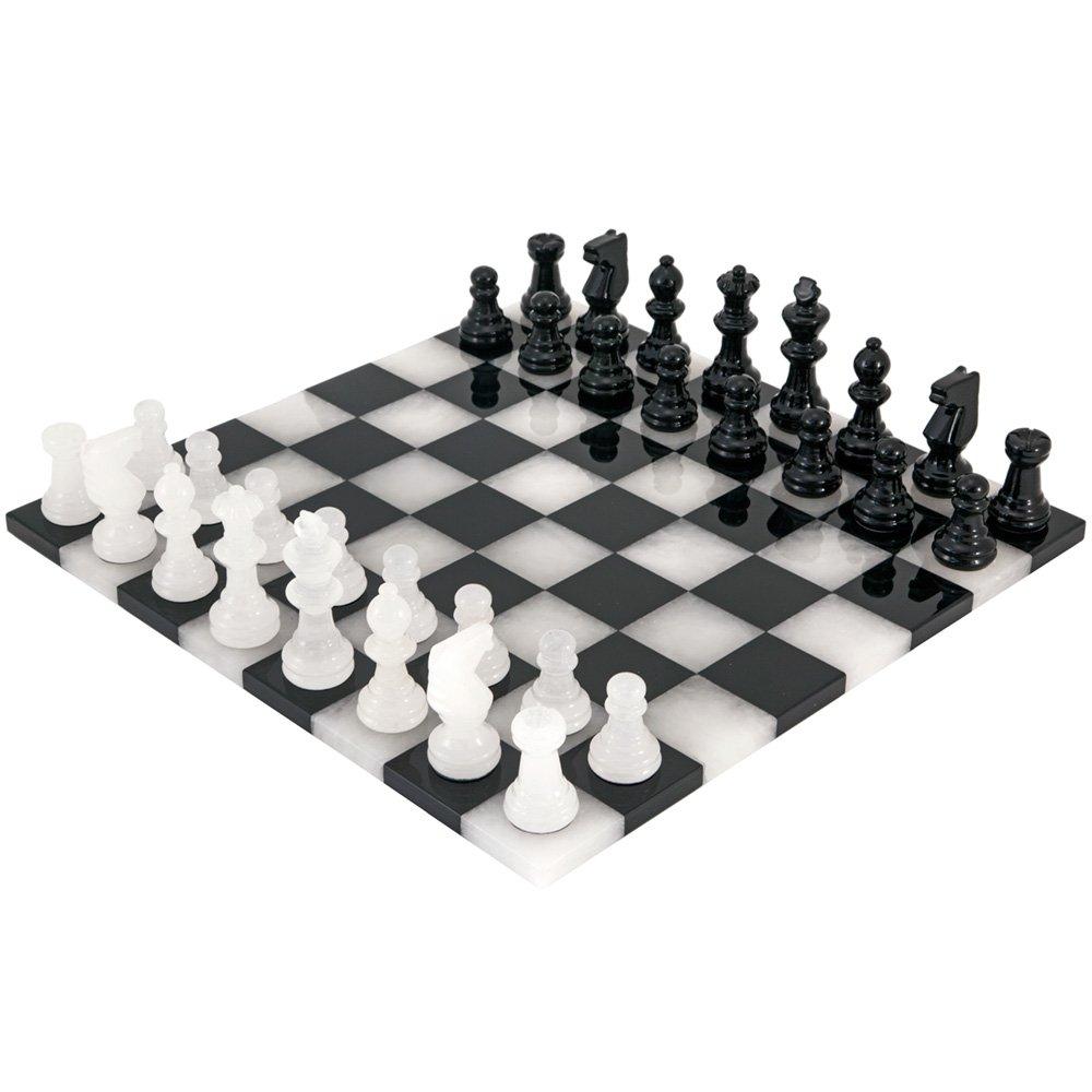 Schwarz und weiß Rand zu Rand Alabaster Schach Set 35.6cm