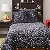 4 Piece Kids Cheetah Pattern Comforter Set Queen Size, Featuring All Over Exotic African Safari Jungle Zoo Wild Animal Print, Solid Reversible Bedding, Vibrant Bold Colors Grey Black White, Polyester