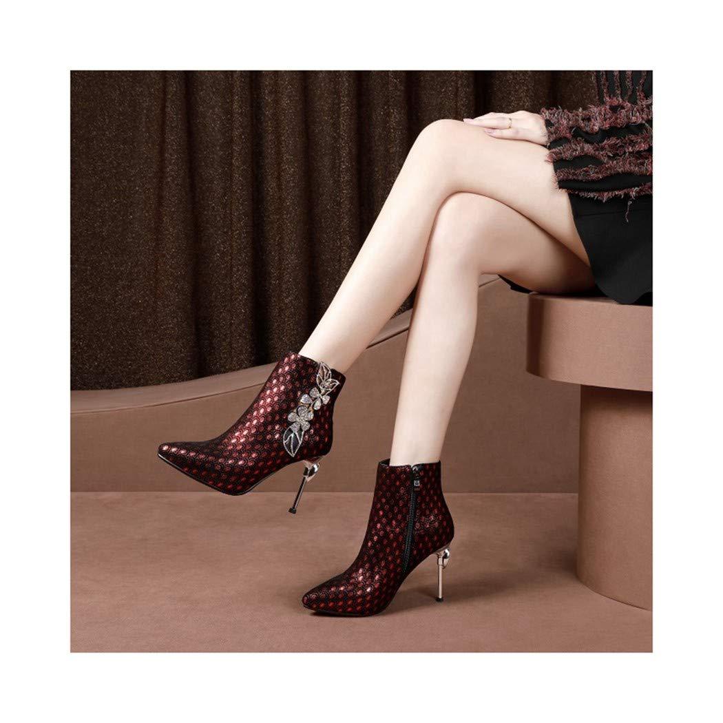 SWEAAY Stiefel Damen Leder Niedrige Stiefel Spitze Martin Stiefel Strass Feiner Absatz Mode Geprägte Warme Stiefel  | Charmantes Design