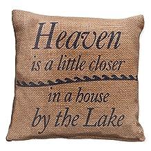 "Small Burlap Heaven/Lake Pillow (8x8"")"