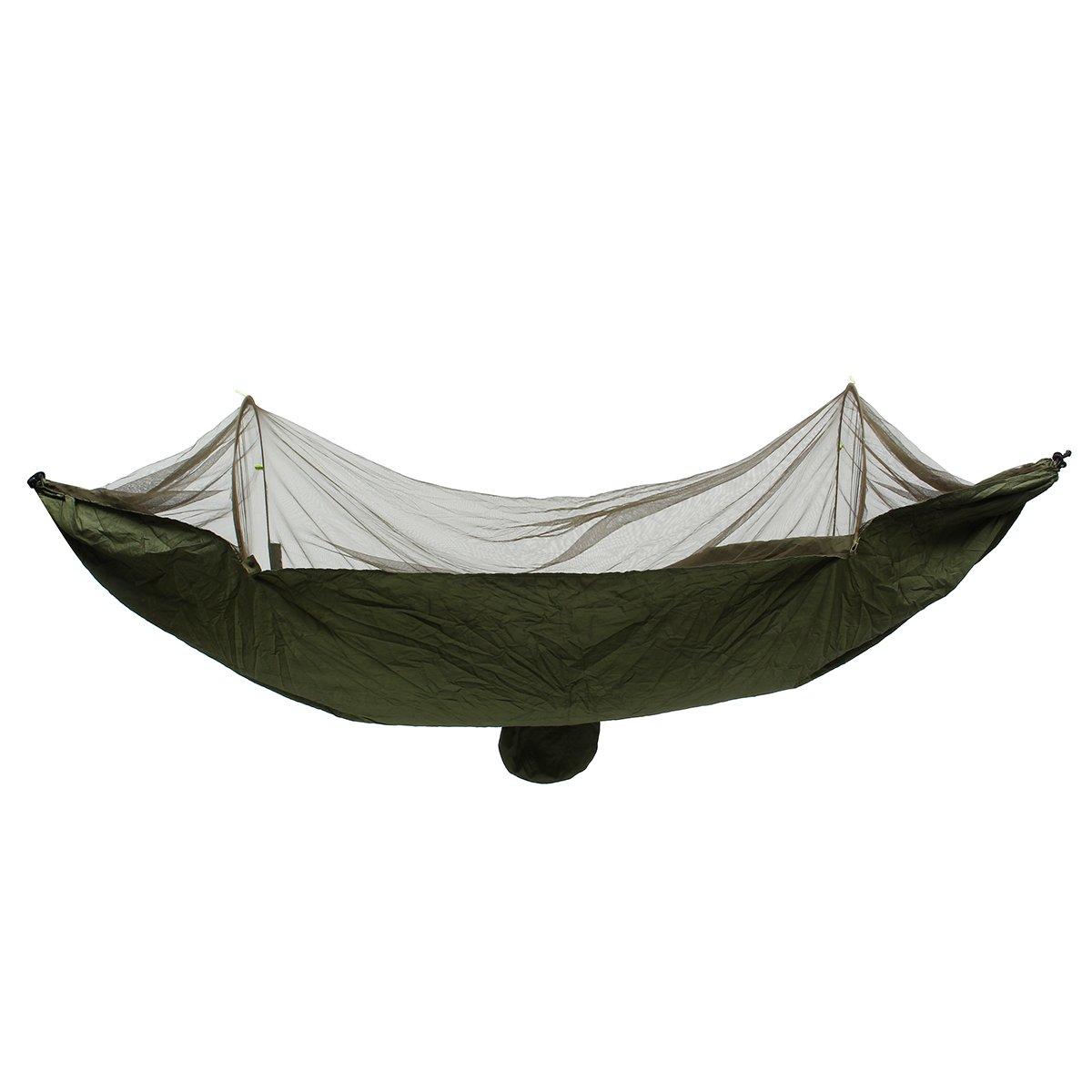 LaDicha 250X120Cm Portable Outdoor Camping Hängematte Schlafen Schaukelbett Moskitonetz - Armee Grün