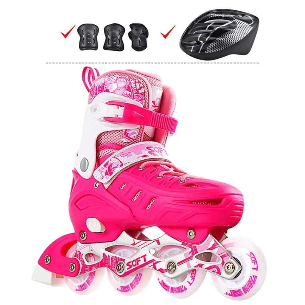 TKW 調整可能なインラインスケート、男の子女の子キッズローラースケート、青少年初心者耐久性のあるスケート、ブルーピンク (Color : ピンク, Size : L(EU39-42)) ピンク L(EU39-42)