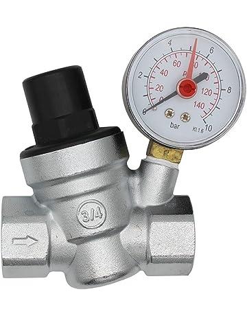 DN20 Valvula presion reductora cromado regulador presion agua 3/4 pulgada con manometro indicador presion