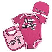 Harley-Davidson Baby Girls' 3 Piece Creeper, Bib & Hat Set, Pink 2501817 (3/6M)